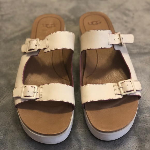 9ef06e278b3 UGG Hanneli White Leather Platform Sandals SZ 11
